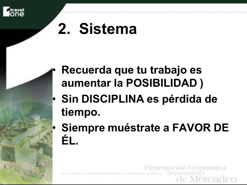 2. Sistema Recuerda que tu trabajo es aumentar la POSIBILIDAD ) Sin DISCIPLINA es pérdida de tiempo. Siempre muéstrate a FAVOR DE ÉL.