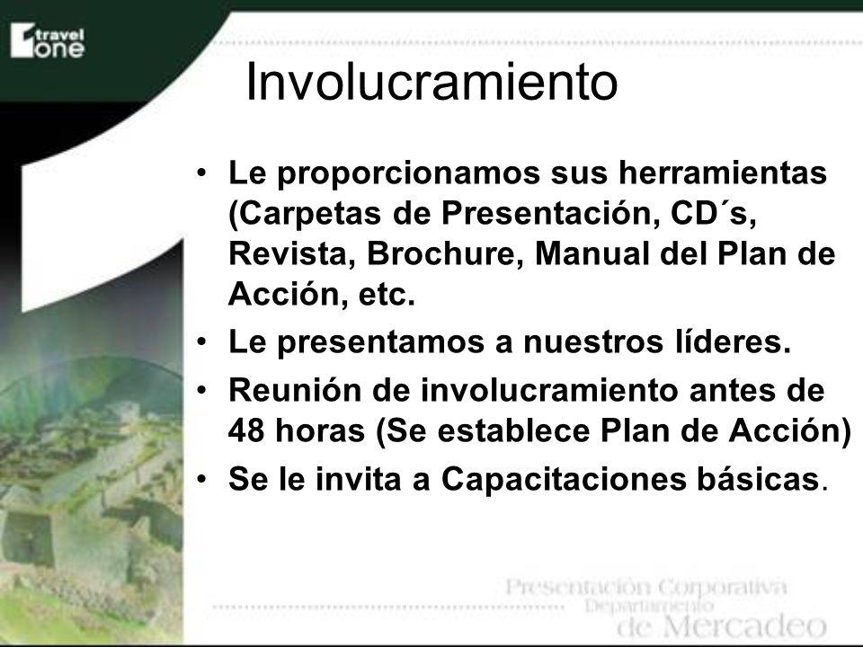 Involucramiento Le proporcionamos sus herramientas (Carpetas de Presentación, CD´s, Revista, Brochure, Manual del Plan de Acción, etc. Le presentamos