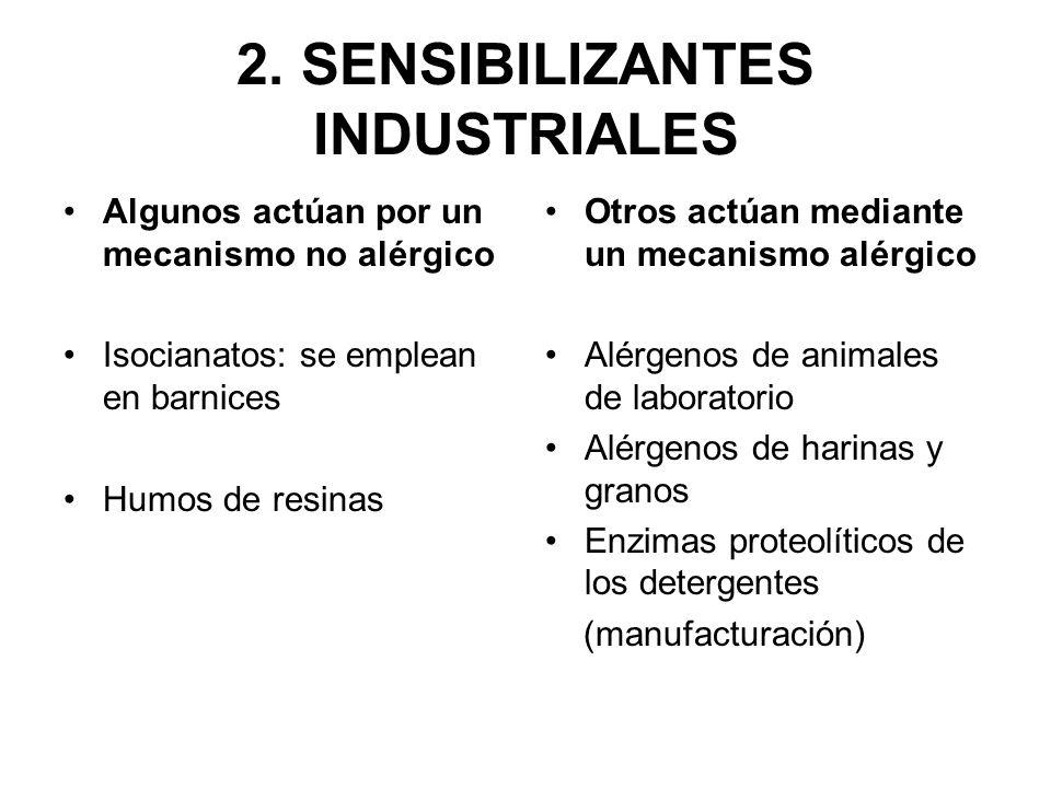 2. SENSIBILIZANTES INDUSTRIALES Algunos actúan por un mecanismo no alérgico Isocianatos: se emplean en barnices Humos de resinas Otros actúan mediante