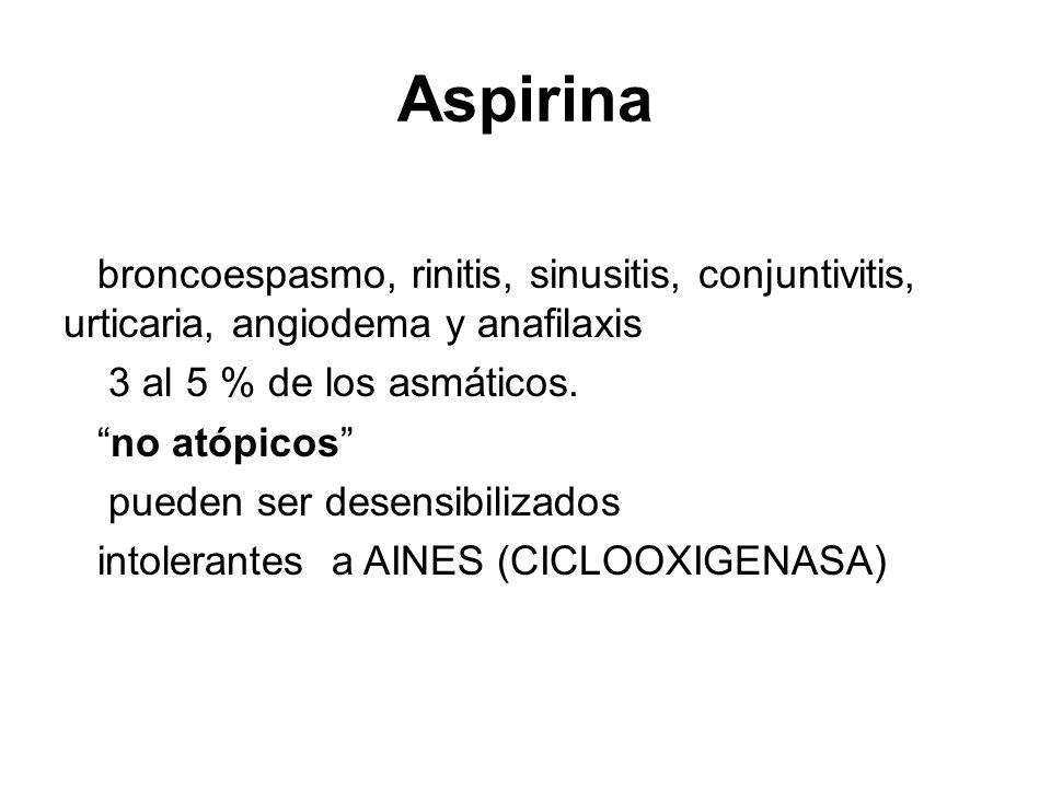 Aspirina broncoespasmo, rinitis, sinusitis, conjuntivitis, urticaria, angiodema y anafilaxis 3 al 5 % de los asmáticos. no atópicos pueden ser desensi