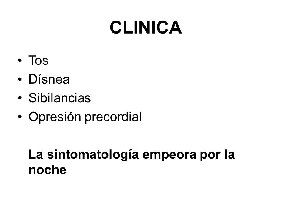 CLINICA Tos Dísnea Sibilancias Opresión precordial La sintomatología empeora por la noche