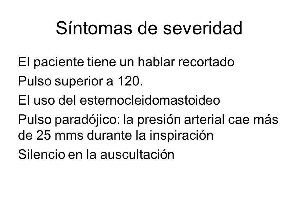 Síntomas de severidad El paciente tiene un hablar recortado Pulso superior a 120. El uso del esternocleidomastoideo Pulso paradójico: la presión arter