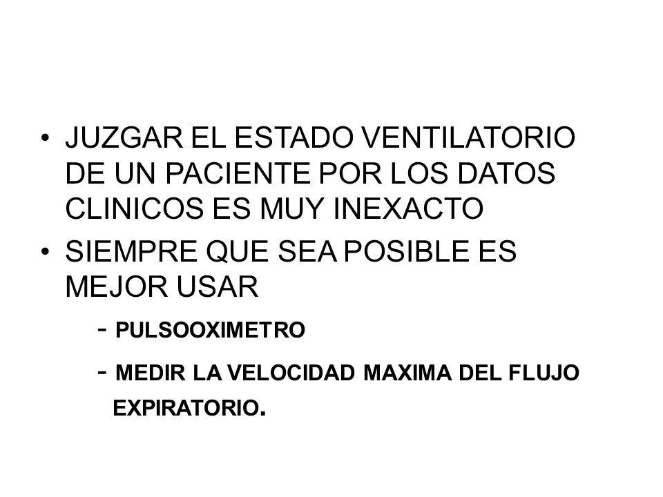 JUZGAR EL ESTADO VENTILATORIO DE UN PACIENTE POR LOS DATOS CLINICOS ES MUY INEXACTO SIEMPRE QUE SEA POSIBLE ES MEJOR USAR - PULSOOXIMETRO - MEDIR LA VELOCIDAD MAXIMA DEL FLUJO EXPIRATORIO.