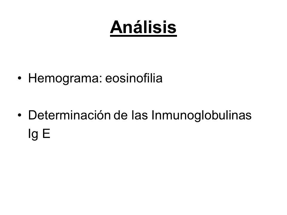 Análisis Hemograma: eosinofilia Determinación de las Inmunoglobulinas Ig E