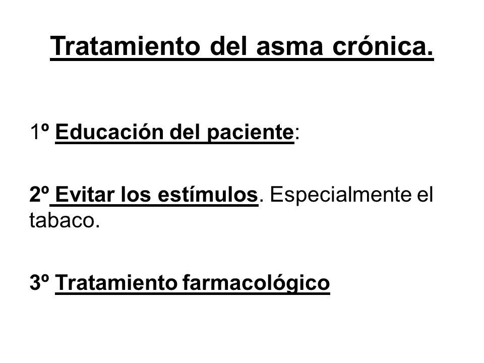 Tratamiento del asma crónica. 1º Educación del paciente: 2º Evitar los estímulos. Especialmente el tabaco. 3º Tratamiento farmacológico