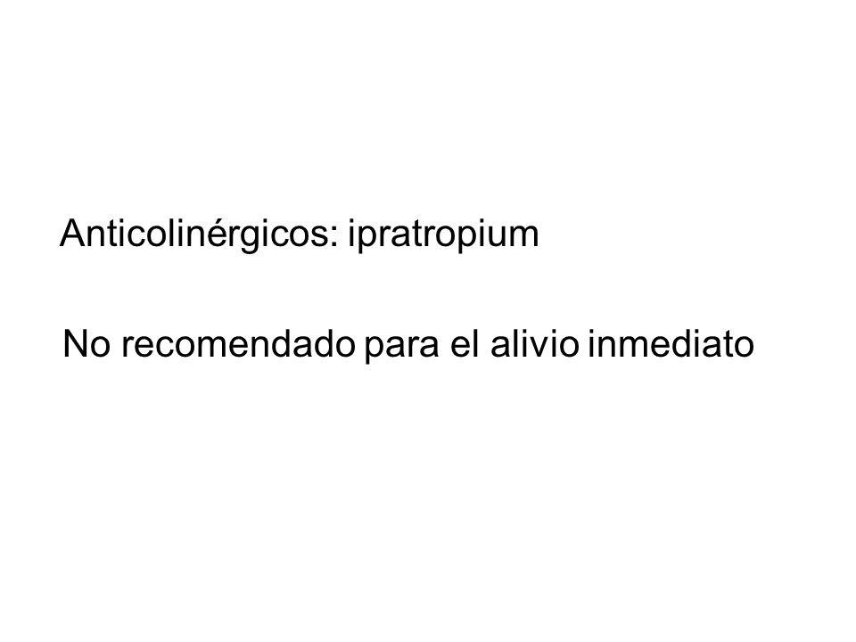 Anticolinérgicos: ipratropium No recomendado para el alivio inmediato