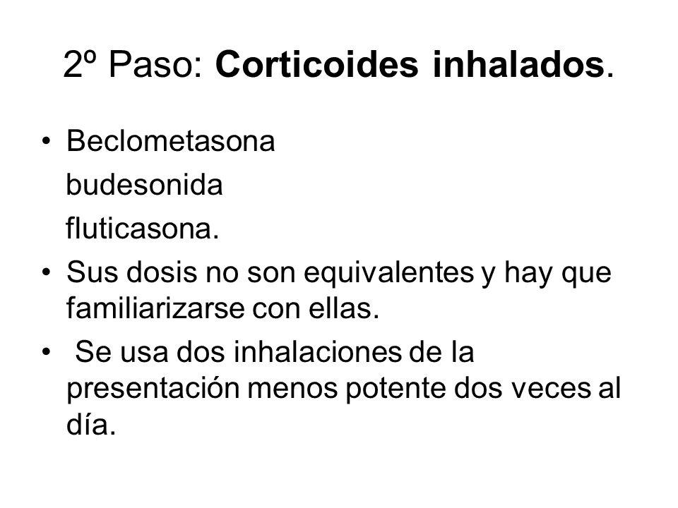 2º Paso: Corticoides inhalados. Beclometasona budesonida fluticasona. Sus dosis no son equivalentes y hay que familiarizarse con ellas. Se usa dos inh