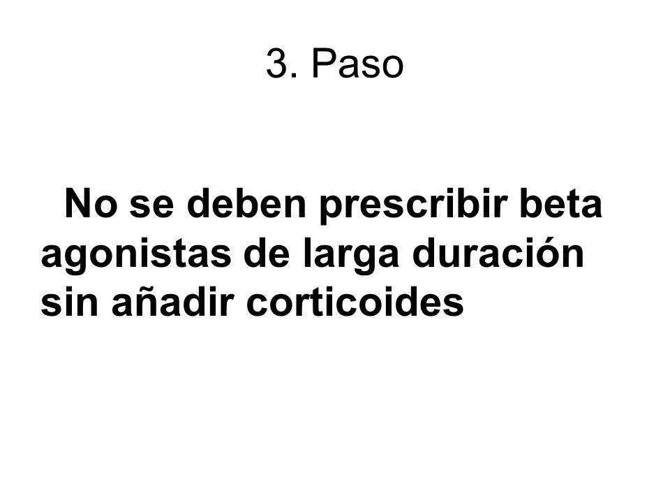 3. Paso No se deben prescribir beta agonistas de larga duración sin añadir corticoides