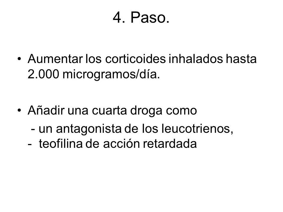4. Paso. Aumentar los corticoides inhalados hasta 2.000 microgramos/día. Añadir una cuarta droga como - un antagonista de los leucotrienos, - teofilin