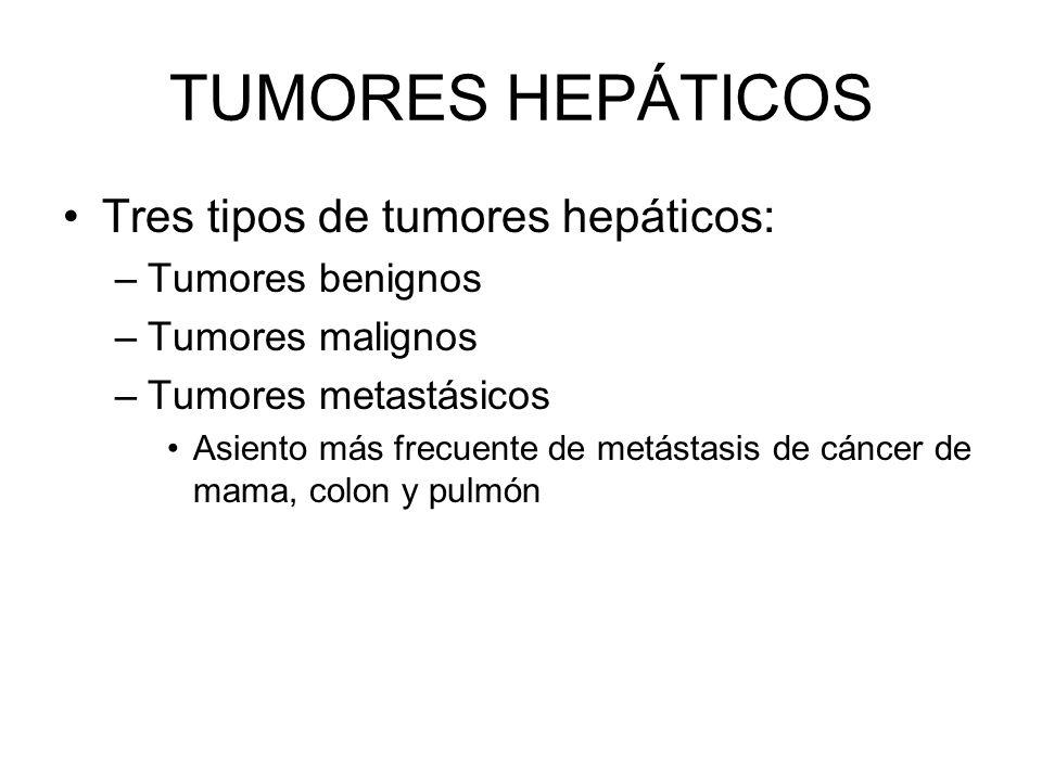 Tres tipos de tumores hepáticos: –Tumores benignos –Tumores malignos –Tumores metastásicos Asiento más frecuente de metástasis de cáncer de mama, colo