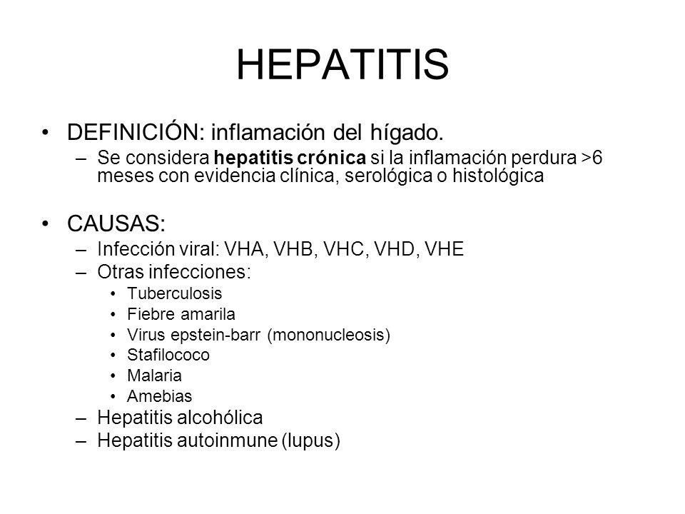 DEFINICIÓN: inflamación del hígado. –Se considera hepatitis crónica si la inflamación perdura >6 meses con evidencia clínica, serológica o histológica