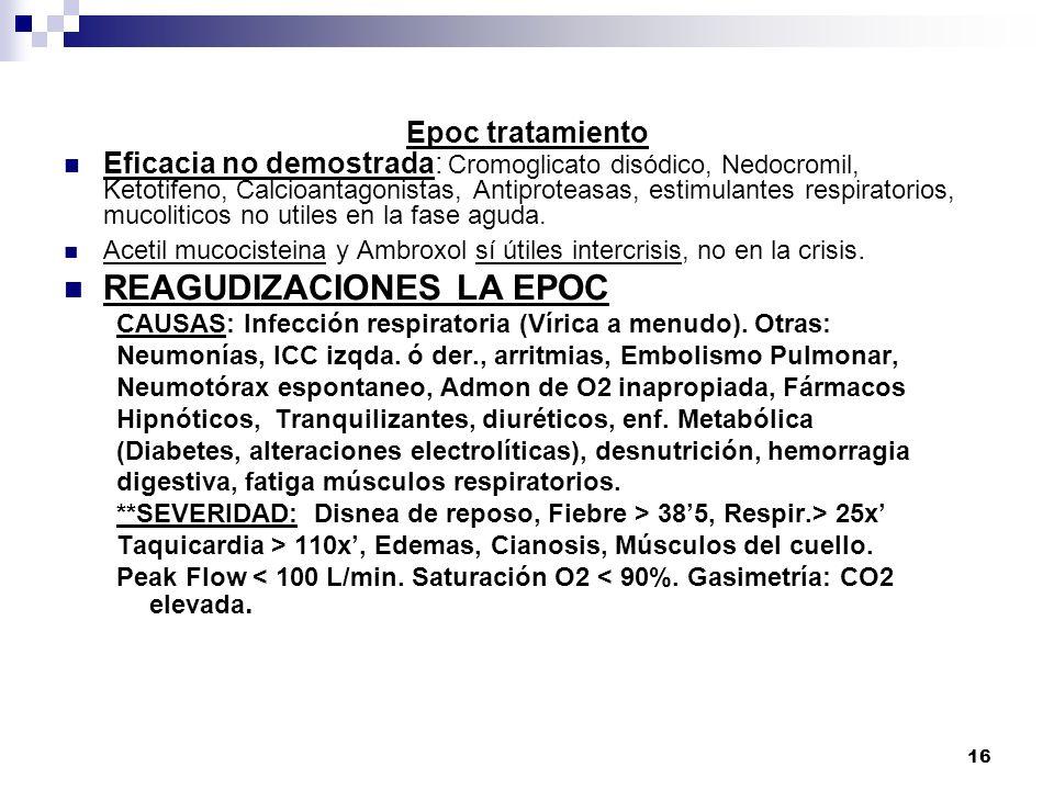 16 Epoc tratamiento Eficacia no demostrada: Cromoglicato disódico, Nedocromil, Ketotifeno, Calcioantagonistas, Antiproteasas, estimulantes respiratori