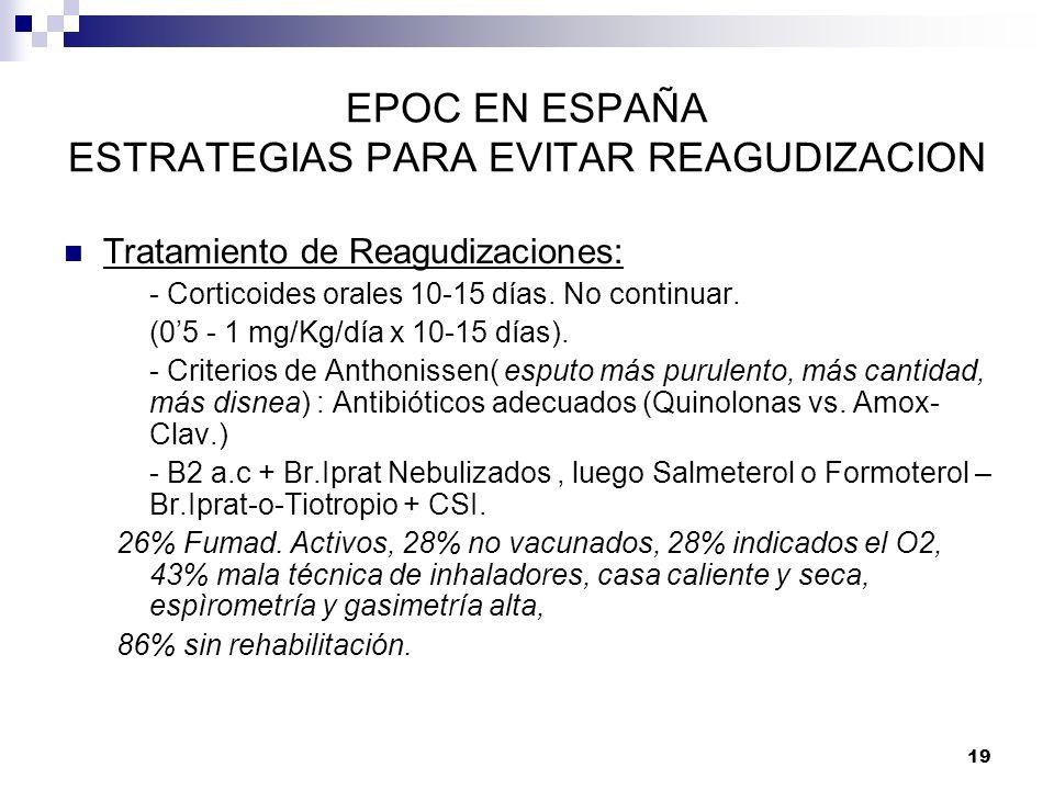 19 EPOC EN ESPAÑA ESTRATEGIAS PARA EVITAR REAGUDIZACION Tratamiento de Reagudizaciones: - Corticoides orales 10-15 días. No continuar. (05 - 1 mg/Kg/d