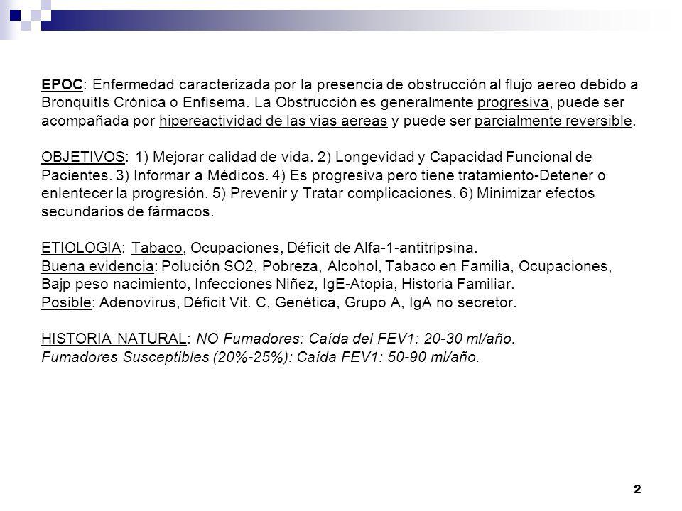 13 EPOC EN ESPAÑA - 2010 PERCEPCION RESPIRATOR IO SISTEMICO EPOC DISNEA IMC * TOLERANCIA ESFUERZO * FEV1