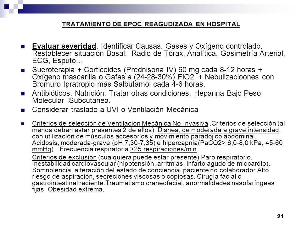 21 TRATAMIENTO DE EPOC REAGUDIZADA EN HOSPITAL Evaluar severidad. Identificar Causas. Gases y Oxígeno controlado. Restablecer situación Basal. Radio d