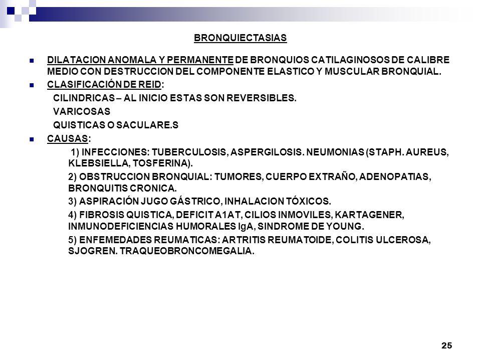25 BRONQUIECTASIAS DILATACION ANOMALA Y PERMANENTE DE BRONQUIOS CATILAGINOSOS DE CALIBRE MEDIO CON DESTRUCCION DEL COMPONENTE ELASTICO Y MUSCULAR BRON