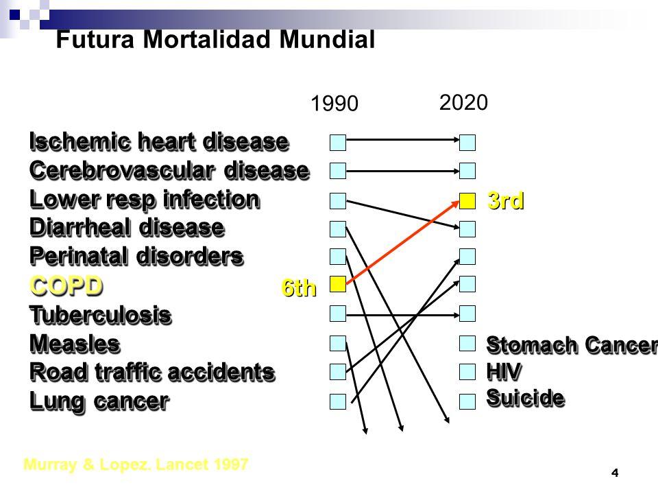 5 ESTUDIO IBERPOC 1999 EPOC 2003 - ESPAÑA PREVALENCIA: 9% HOMBRES ADULTOS, 5% MUJERES.
