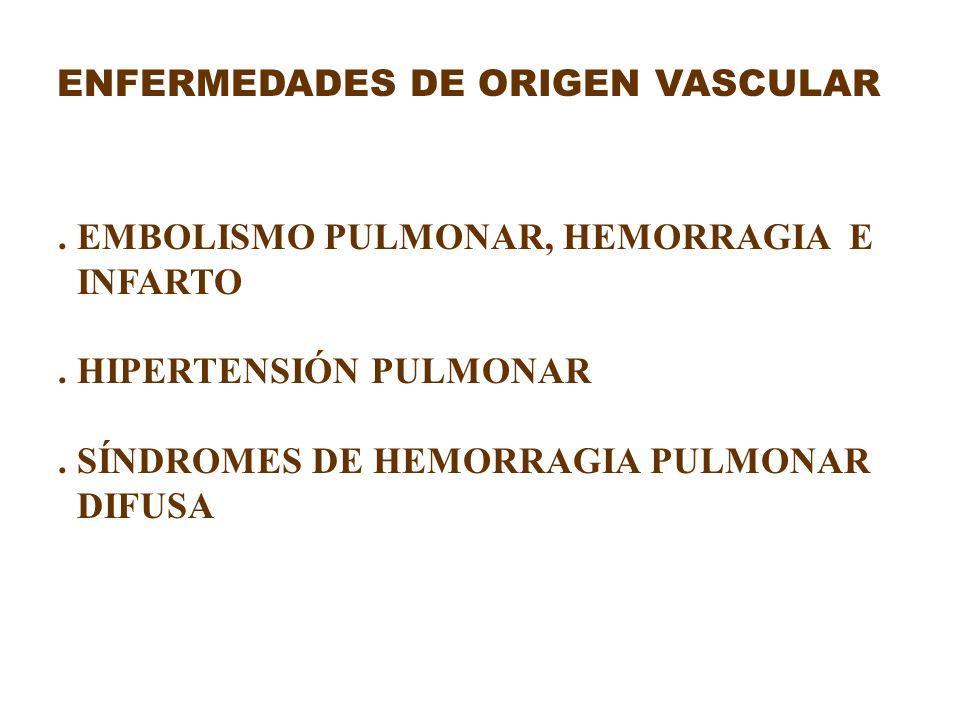 ENFERMEDADES DE ORIGEN VASCULAR. EMBOLISMO PULMONAR, HEMORRAGIA E INFARTO. HIPERTENSIÓN PULMONAR. SÍNDROMES DE HEMORRAGIA PULMONAR DIFUSA