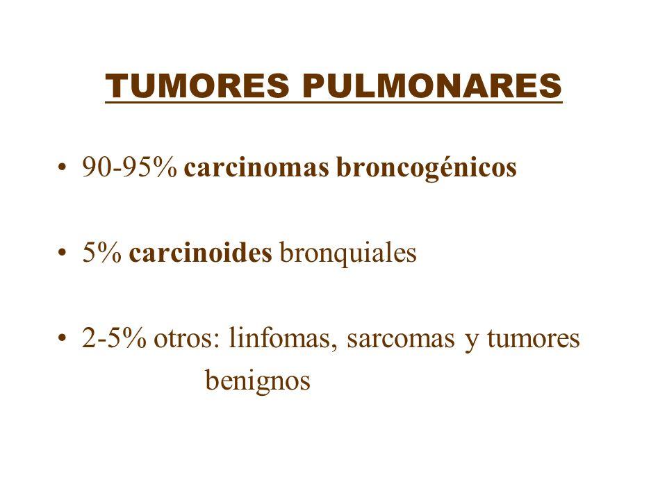 TUMORES PULMONARES 90-95% carcinomas broncogénicos 5% carcinoides bronquiales 2-5% otros: linfomas, sarcomas y tumores benignos