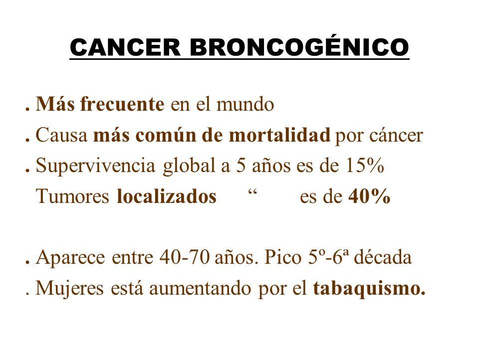 CANCER BRONCOGÉNICO. Más frecuente en el mundo. Causa más común de mortalidad por cáncer. Supervivencia global a 5 años es de 15% Tumores localizados