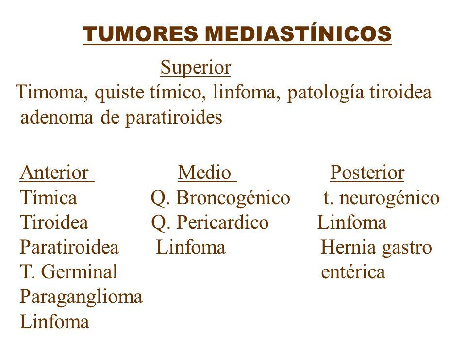 TUMORES MEDIASTÍNICOS Superior Timoma, quiste tímico, linfoma, patología tiroidea adenoma de paratiroides Anterior Medio Posterior Tímica Q. Broncogén