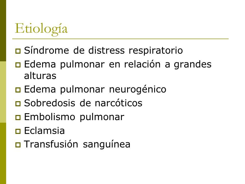 Etiología Síndrome de distress respiratorio Edema pulmonar en relación a grandes alturas Edema pulmonar neurogénico Sobredosis de narcóticos Embolismo