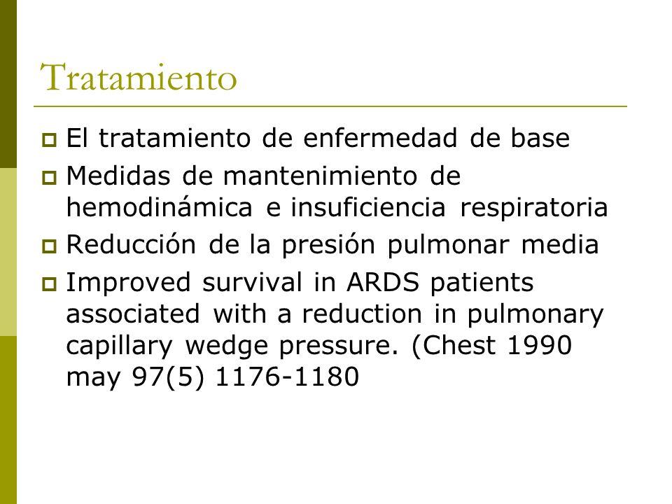 Tratamiento El tratamiento de enfermedad de base Medidas de mantenimiento de hemodinámica e insuficiencia respiratoria Reducción de la presión pulmonar media Improved survival in ARDS patients associated with a reduction in pulmonary capillary wedge pressure.