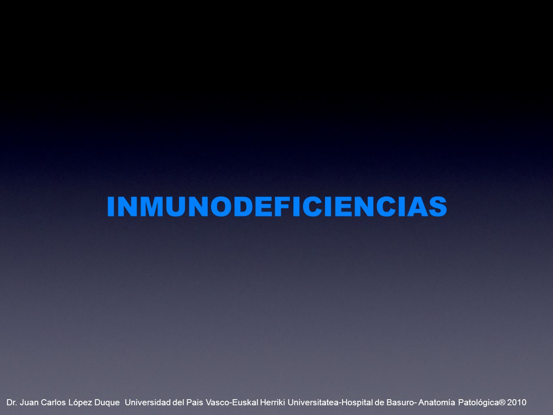 PRIMARIAS CÉLULAS B AGAMMAGLOBULINEMIA DE BRUTON INMUNODEFICIENCIA COMÚN VARIABLE INMUNODEFICIENCIA SEVERA COMBINADA (B+T) CELULAS T SÍNDROME DE DIGEORGE COMPLEMENTO DÉFICITS DE C1, C2 Y C3 SECUNDARIAS INFECCIONES (SIDA) MALNUTRICIÓN Y EDAD INMUNOSUPRESIÓN