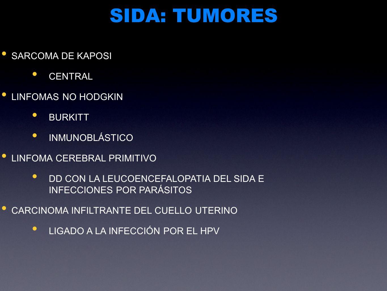 SIDA: TUMORES SARCOMA DE KAPOSI CENTRAL LINFOMAS NO HODGKIN BURKITT INMUNOBLÁSTICO LINFOMA CEREBRAL PRIMITIVO DD CON LA LEUCOENCEFALOPATIA DEL SIDA E