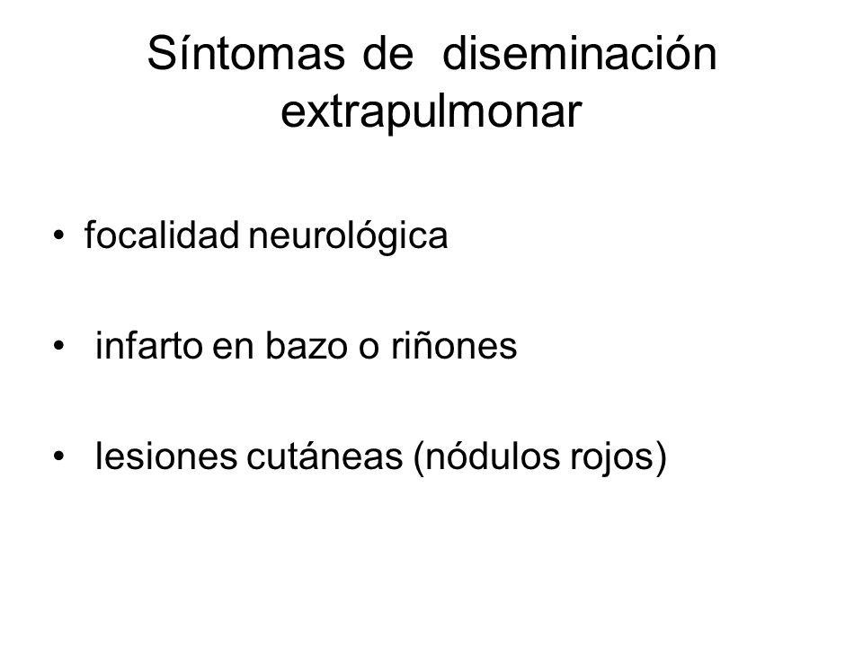 Síntomas de diseminación extrapulmonar focalidad neurológica infarto en bazo o riñones lesiones cutáneas (nódulos rojos)