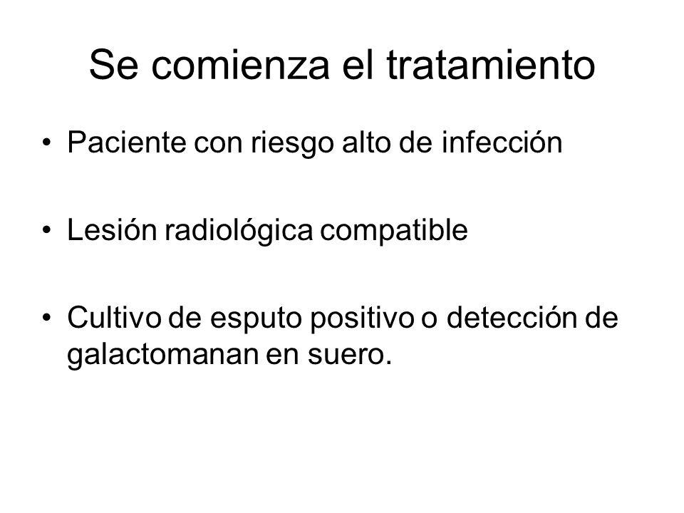 Se comienza el tratamiento Paciente con riesgo alto de infección Lesión radiológica compatible Cultivo de esputo positivo o detección de galactomanan en suero.