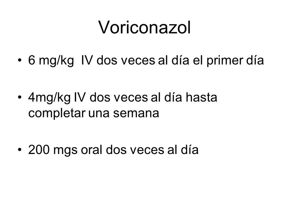 Voriconazol 6 mg/kg IV dos veces al día el primer día 4mg/kg IV dos veces al día hasta completar una semana 200 mgs oral dos veces al día