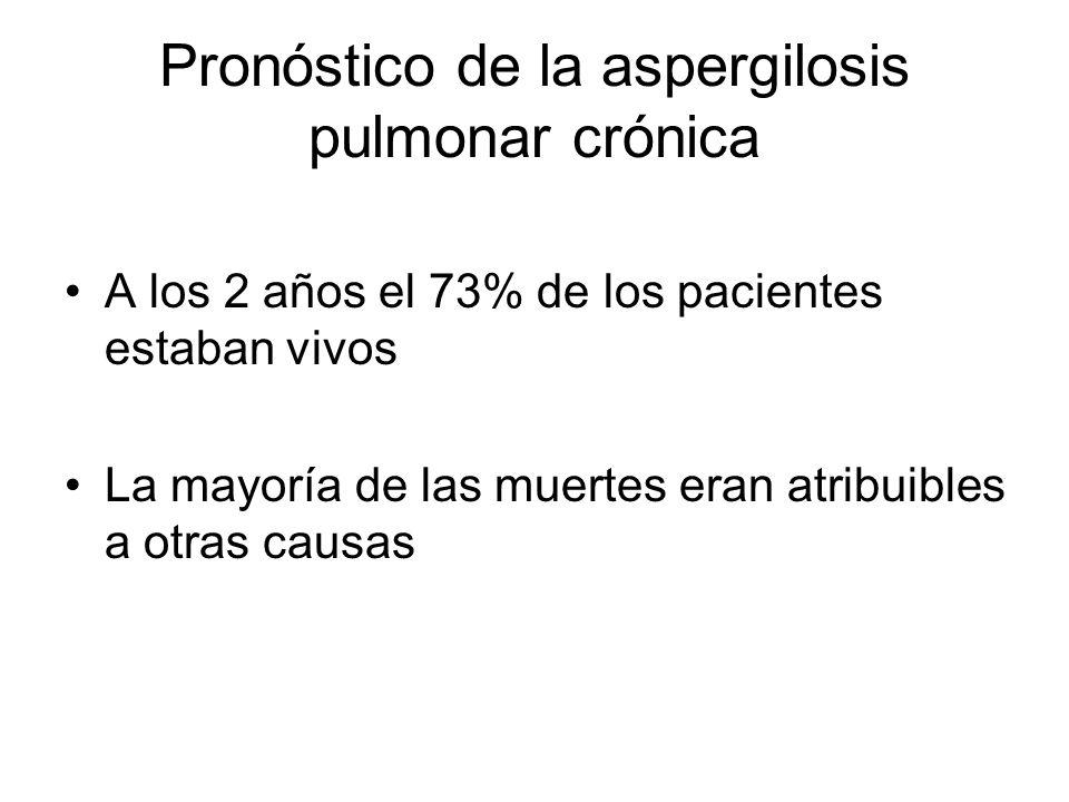 Pronóstico de la aspergilosis pulmonar crónica A los 2 años el 73% de los pacientes estaban vivos La mayoría de las muertes eran atribuibles a otras causas