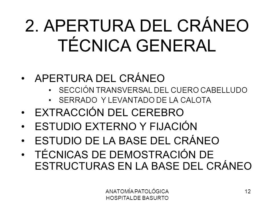 ANATOMÍA PATOLÓGICA HOSPITAL DE BASURTO 12 2. APERTURA DEL CRÁNEO TÉCNICA GENERAL APERTURA DEL CRÁNEO SECCIÓN TRANSVERSAL DEL CUERO CABELLUDO SERRADO