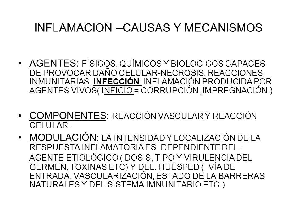 INFLAMACION –CAUSAS Y MECANISMOS AGENTES: FÍSICOS, QUÍMICOS Y BIOLOGICOS CAPACES DE PROVOCAR DAÑO CELULAR-NECROSIS. REACCIONES INMUNITARIAS. INFECCIÓN