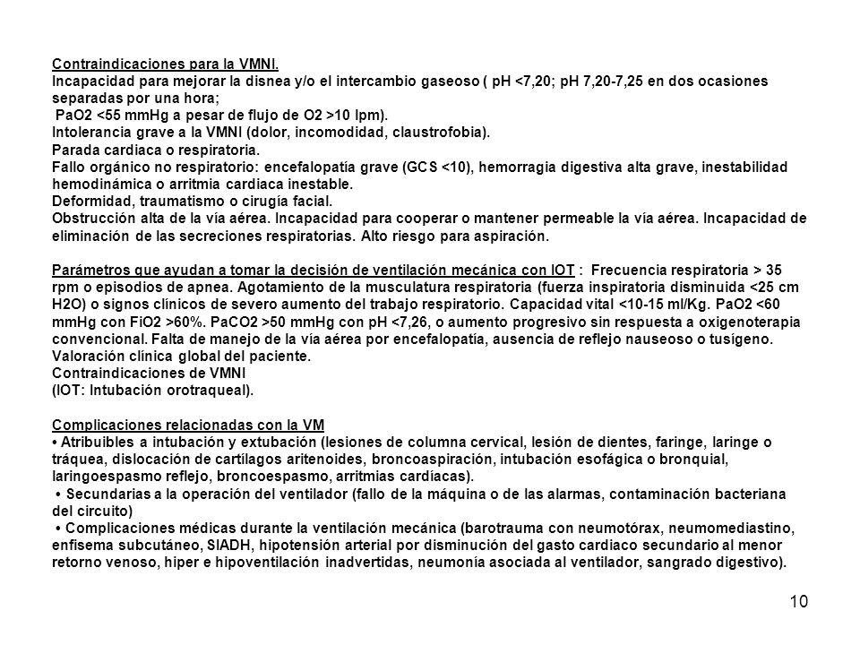 10 Contraindicaciones para la VMNI. Incapacidad para mejorar la disnea y/o el intercambio gaseoso ( pH 10 lpm). Intolerancia grave a la VMNI (dolor, i