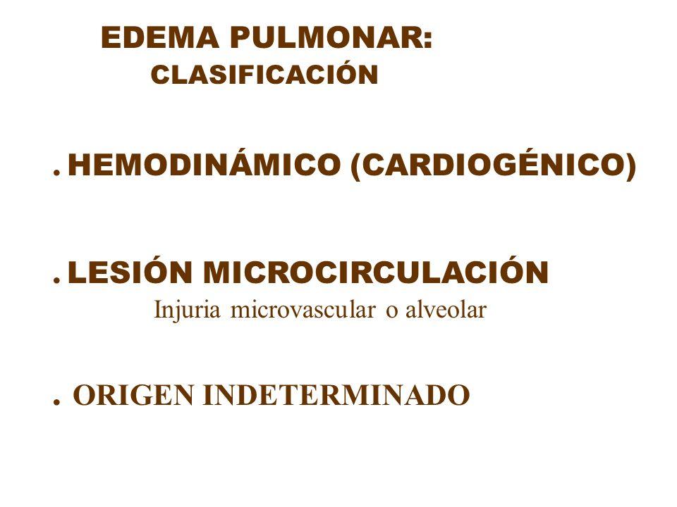EDEMA PULMONAR: CLASIFICACIÓN. HEMODINÁMICO (CARDIOGÉNICO). LESIÓN MICROCIRCULACIÓN Injuria microvascular o alveolar. ORIGEN INDETERMINADO