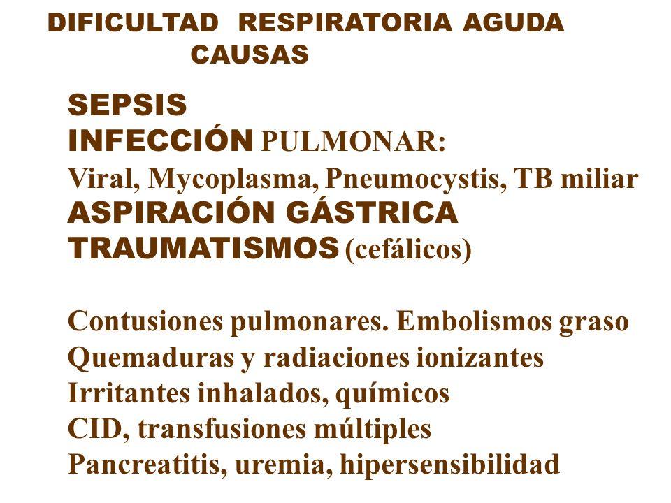DIFICULTAD RESPIRATORIA AGUDA CAUSAS SEPSIS INFECCIÓN PULMONAR: Viral, Mycoplasma, Pneumocystis, TB miliar ASPIRACIÓN GÁSTRICA TRAUMATISMOS (cefálicos
