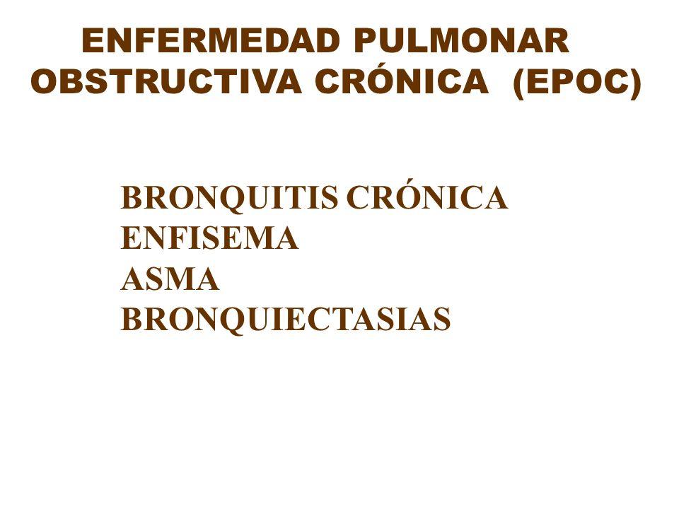 ENFERMEDAD PULMONAR OBSTRUCTIVA CRÓNICA (EPOC) BRONQUITIS CRÓNICA ENFISEMA ASMA BRONQUIECTASIAS