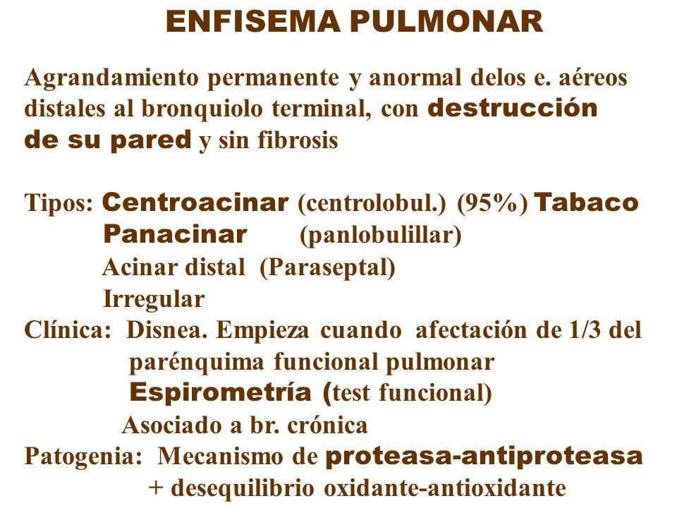 ENFISEMA PULMONAR Agrandamiento permanente y anormal delos e. aéreos distales al bronquiolo terminal, con destrucción de su pared y sin fibrosis Tipos