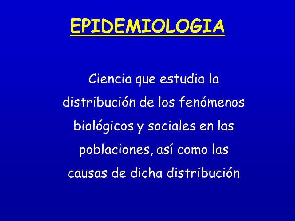 EPIDEMIOLOGIA Ciencia que estudia la distribución de los fenómenos biológicos y sociales en las poblaciones, así como las causas de dicha distribución