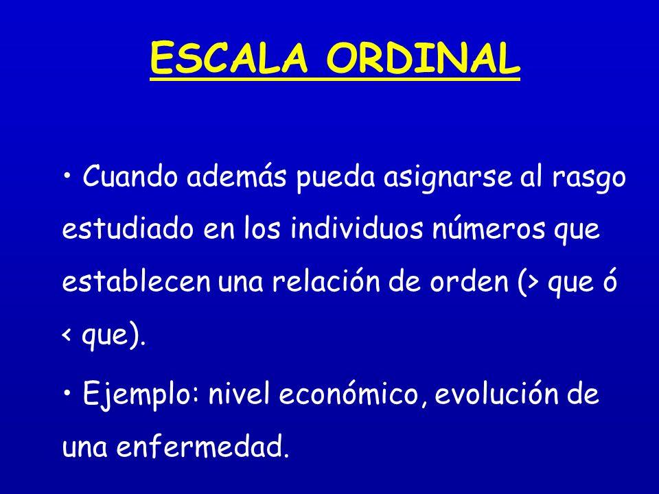 ESCALA ORDINAL Cuando además pueda asignarse al rasgo estudiado en los individuos números que establecen una relación de orden (> que ó < que). Ejempl