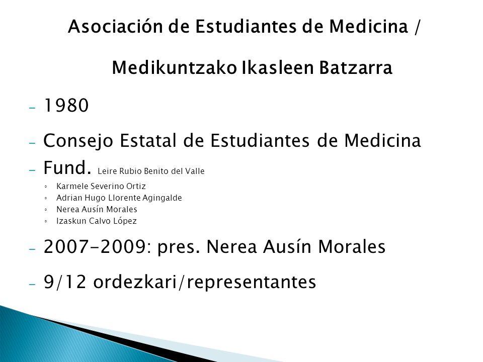 Asociación de Estudiantes de Medicina / Medikuntzako Ikasleen Batzarra – 1980 – Consejo Estatal de Estudiantes de Medicina – Fund. Leire Rubio Benito