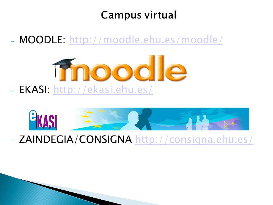Campus virtual – MOODLE: http://moodle.ehu.es/moodle/http://moodle.ehu.es/moodle/ – EKASI: http://ekasi.ehu.es/http://ekasi.ehu.es/ – ZAINDEGIA/CONSIGNA http://consigna.ehu.es/http://consigna.ehu.es/