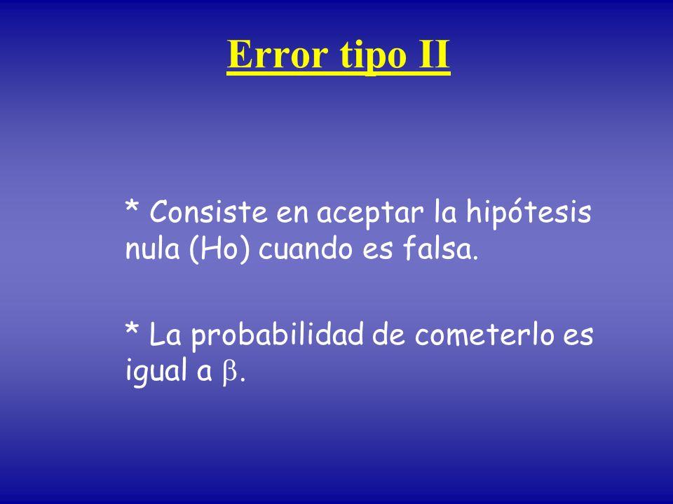 Error tipo II * Consiste en aceptar la hipótesis nula (Ho) cuando es falsa.