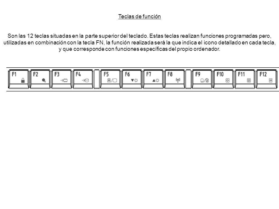 Teclas de función Son las 12 teclas situadas en la parte superior del teclado. Estas teclas realizan funciones programadas pero, utilizadas en combina