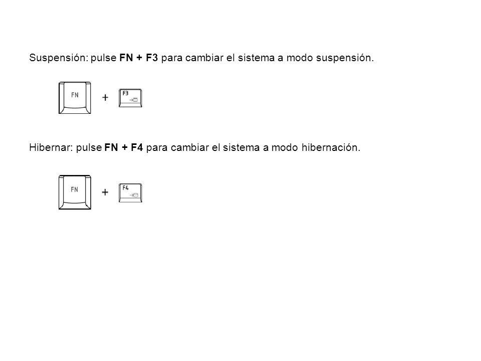 Suspensión: pulse FN + F3 para cambiar el sistema a modo suspensión. Hibernar: pulse FN + F4 para cambiar el sistema a modo hibernación.