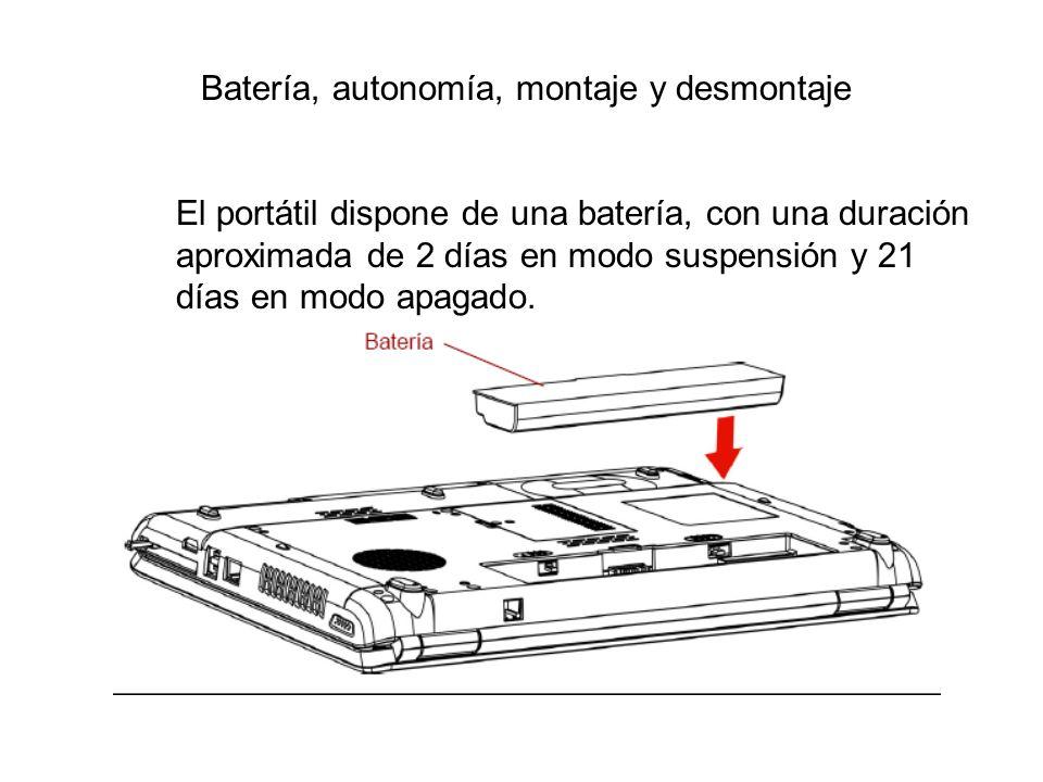 Batería, autonomía, montaje y desmontaje El portátil dispone de una batería, con una duración aproximada de 2 días en modo suspensión y 21 días en mod