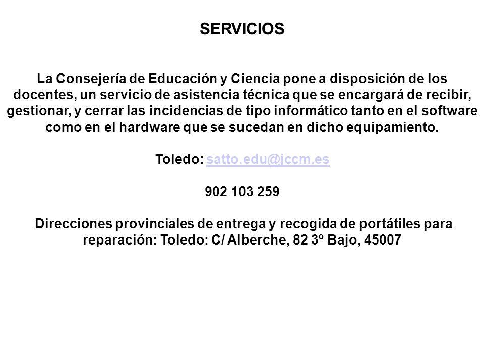 SERVICIOS La Consejería de Educación y Ciencia pone a disposición de los docentes, un servicio de asistencia técnica que se encargará de recibir, gest