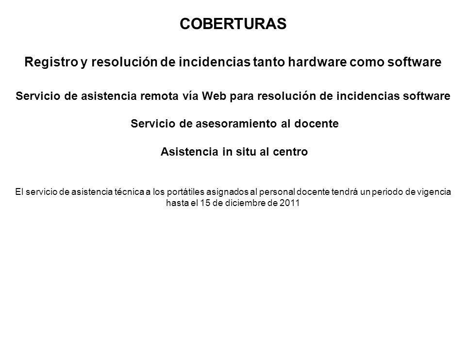 COBERTURAS Registro y resolución de incidencias tanto hardware como software Servicio de asistencia remota vía Web para resolución de incidencias soft